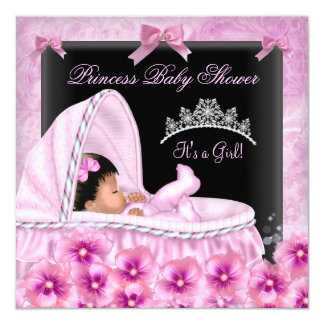 Mädchen-Afroamerikaner Prinzessin-Babyparty Quadratische 13,3 Cm Einladungskarte