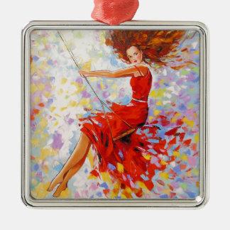 Mädchen auf einem Schwingen Quadratisches Silberfarbenes Ornament