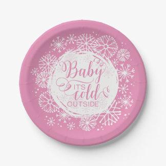 """Mädchen-Baby ist es kalte Außenseite 7"""" Pappteller"""