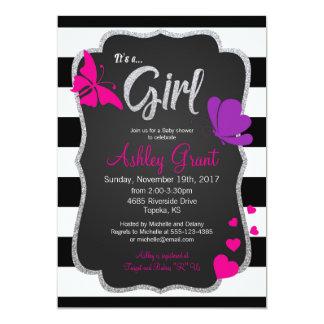 Mädchen-Babyparty-Einladung, Tafel, Schmetterling Karte