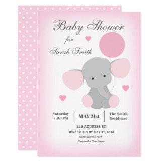 Mädchen-Babyparty-Einladungs-Elefant-Rosa Karte