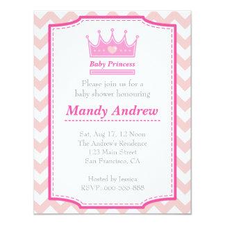 Mädchen-Babyparty - rosa Baby-Prinzessin With 10,8 X 14 Cm Einladungskarte
