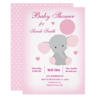 Mädchen-Babyparty-rosa Elefant-Einladung Karte