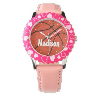 Mädchen-Basketball-niedliche rosa Uhr