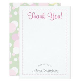 Mädchen-Blasen-Babyparty danken Ihnen zu kardieren Karte