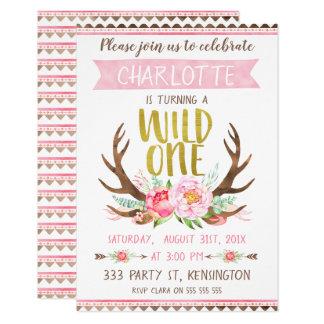 Mädchen BlumenAlntlers wilde Geburtstags-Einladung Karte