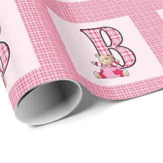 """Mädchen-Buchstabe """"B"""" mit Teddybären und rosa Geschenkpapier"""