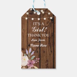 Mädchen danken Ihnen Babyparty-hölzerne Geschenkanhänger