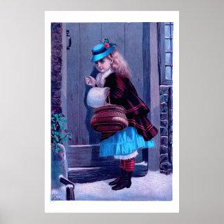 Mädchen, das an der Tür-Vintagen Malerei klopft Poster