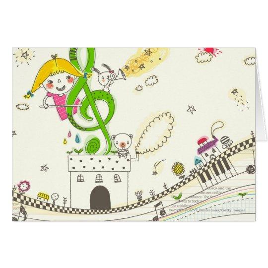 Mädchen, das mit musikalischen Anmerkungen über Karte