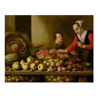 Mädchen, das Trauben verkauft Postkarte