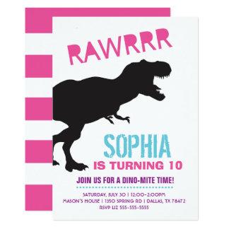Mädchen-Dinosaurier-Geburtstags-Party Einladung