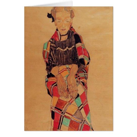 Mädchen Egon Schiele- in der schwarzen Karte