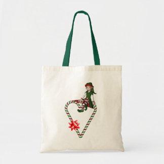 Mädchen-Elf-Zuckerstange-Herz-Weihnachtsfeiertag Tragetasche