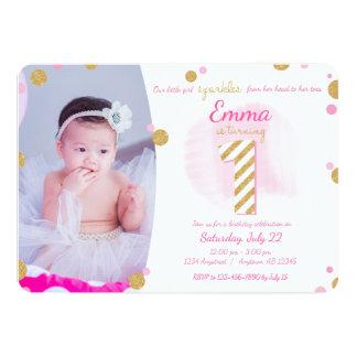 Mädchen-erstes Geburtstags-rosa Goldfunkelnd 12,7 X 17,8 Cm Einladungskarte