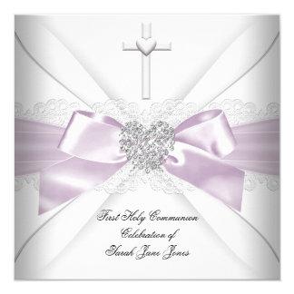 Mädchen-erstes heilige Kommunions-Rosa-weißes Quadratische 13,3 Cm Einladungskarte