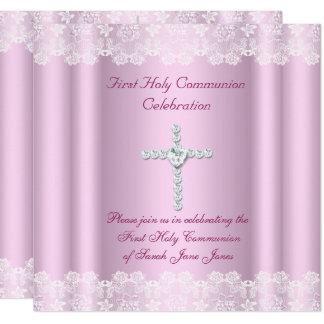Mädchen-erstes heilige Kommunions-weißes Karte