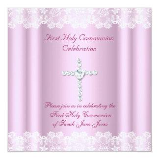 Mädchen-erstes heilige Kommunions-weißes Quadratische 13,3 Cm Einladungskarte
