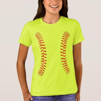Mädchen Fastpitch Softball säumt helles gelbes T-Shirt