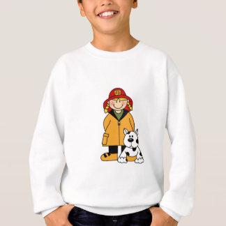 Mädchen-Feuerwehrmann mit Dalmation T-Shirts und