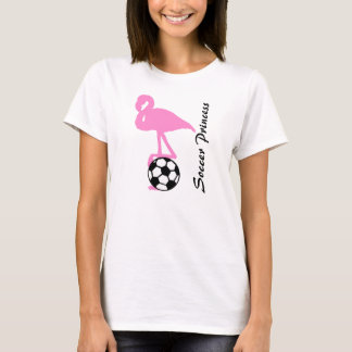 Mädchen-Fußball-Prinzessin Pink Flamingo T-Shirt