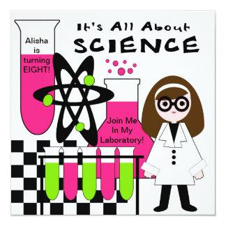 Mädchen ganz über Wissenschafts-Geburtstags-Party Quadratische 13,3 Cm Einladungskarte