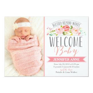 Mädchen-Geburts-Mitteilung der Rosen-Fahnen-| 12,7 X 17,8 Cm Einladungskarte