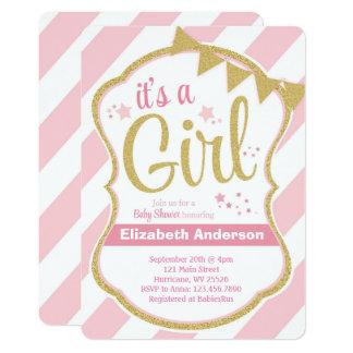 Mädchen-Glitter-Stern-Baby-Duschen-Einladung 12,7 X 17,8 Cm Einladungskarte