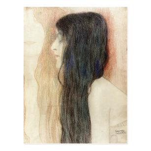 Mädchen Kunstkarte// Postcard die Haare flechtend Albert Anker