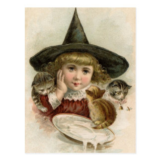 Mädchen-Hexe-Kätzchen-Postkarte Halloweens Vintage Postkarte