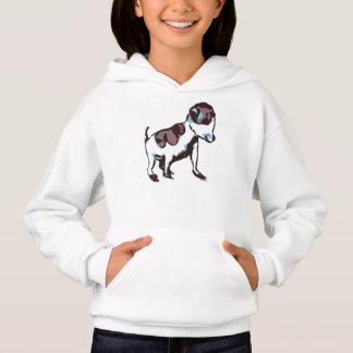 Mädchen Hoodie, Weiß, mit kleinem Hund. Hoodie
