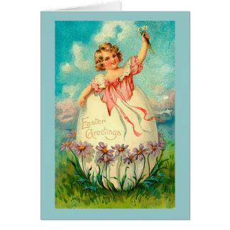 Mädchen im Ei Vintages Ostern Karte