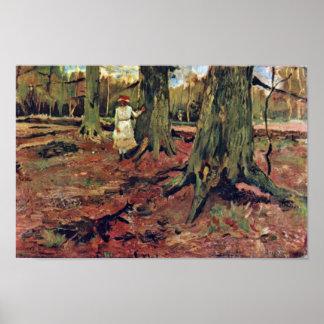 Mädchen im Weiß im Wald durch Vincent van Gogh Poster