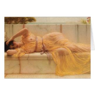 Mädchen Johns William Godward- im gelben Grußkarte
