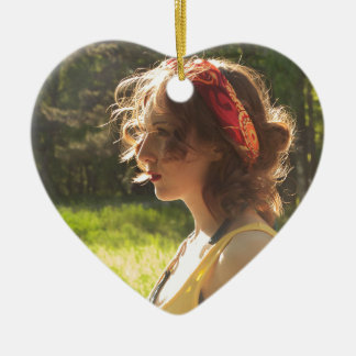 Mädchen Keramik Herz-Ornament