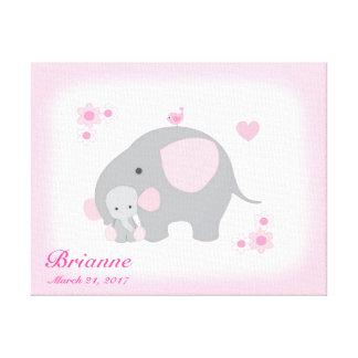 Mädchen-Kinderzimmer-Safari-Elefant-Rosa-graue Leinwanddruck