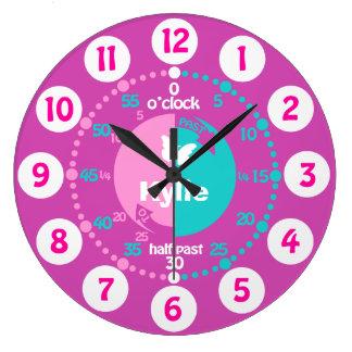 Mädchen lernen, Zeit rosa Aquanamenuhr zu sagen Große Wanduhr