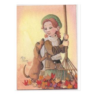 Mädchen mit Daschund Hund Postkarte