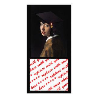 Mädchen mit dem Abschluss-Hut Foto Karten