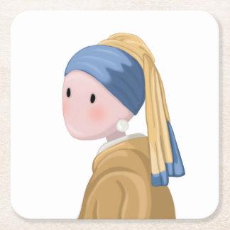 Mädchen mit einem Perlen-Ohrring Rechteckiger Pappuntersetzer