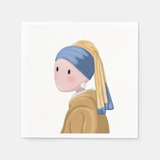 Mädchen mit einem Perlen-Ohrring Serviette