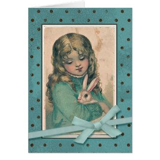 Mädchen mit Häschen-Vintager Wiedergabe Karte