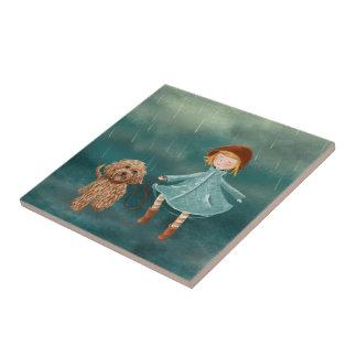 Mädchen mit Hundemalereien/Labradoodle Liebe Fliese