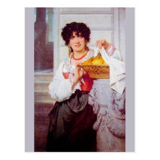 Mädchen mit Korb der Orangen und der Zitronen Postkarte