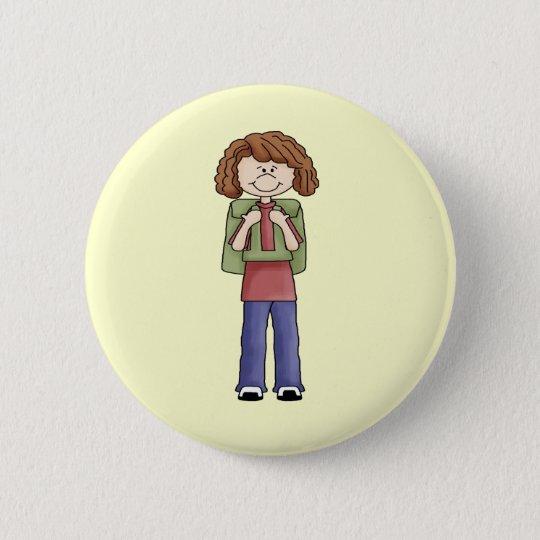 Mädchen mit Rucksack Runder Button 5,1 Cm