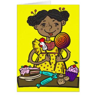 Mädchen mit Süßigkeit und Kuchen Karte