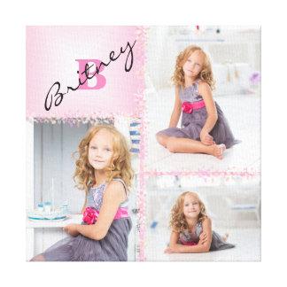 Mädchen-Monogramm-Foto-Collage Leinwanddruck