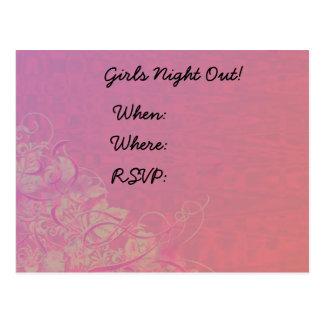 Mädchen-Nacht im Rosa Postkarte