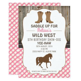 Mädchen-Pferdewilde Westgeburtstags-Party 11,4 X 15,9 Cm Einladungskarte