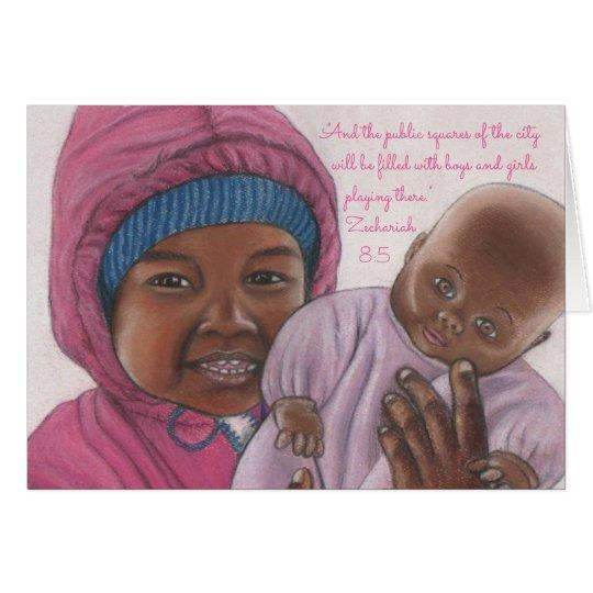 Mädchen Playing~Scripture~Baby Mitteilungskarte